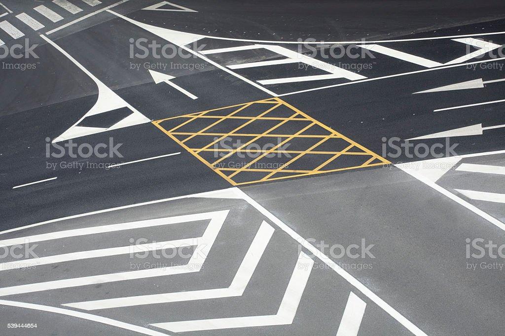 Horizontal road markers, crossroad, traffic sign. stock photo