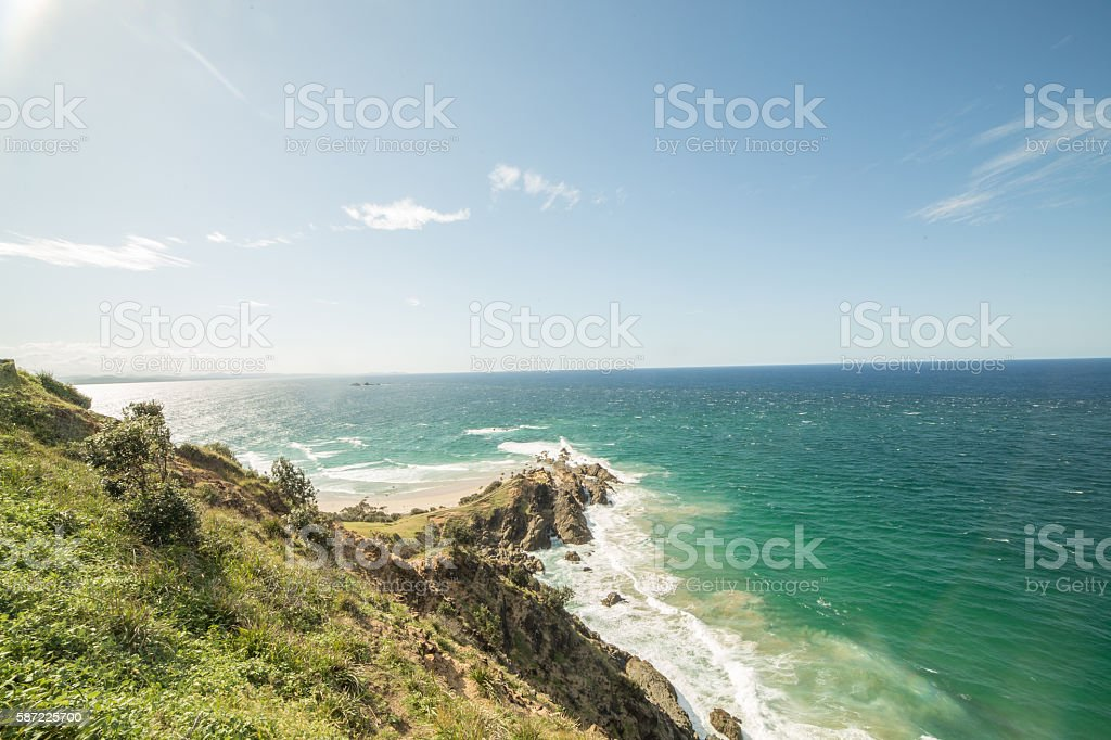 Horizontal shot of Cape Byron, australia stock photo