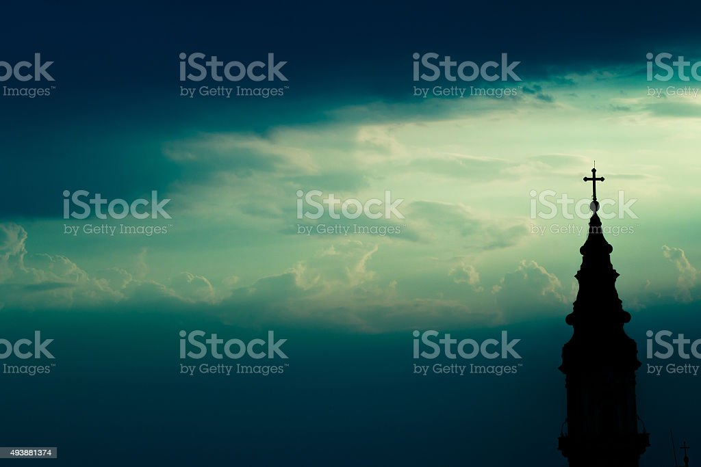 Horizontal silhouette of orthodox church background stock photo
