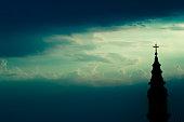Horizontal silhouette of orthodox church background