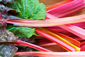 Horizontal Stack of Colorful Rainbow Swiss Chard