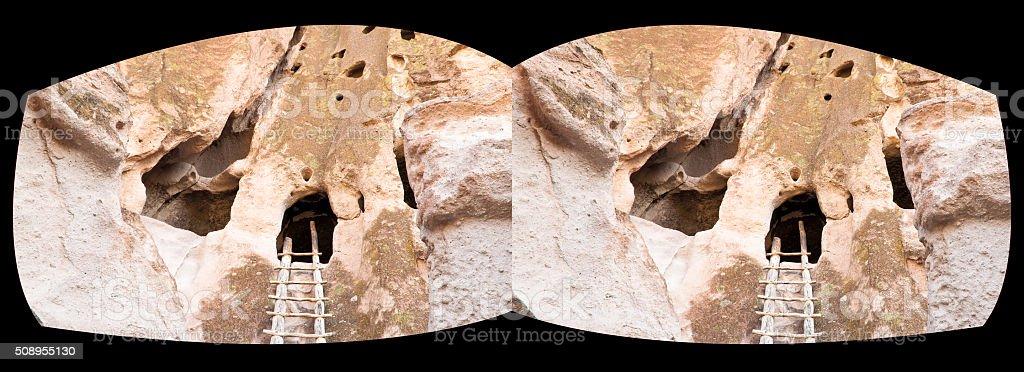 VR horizontal stereoscopic Bandelier National Monument stock photo