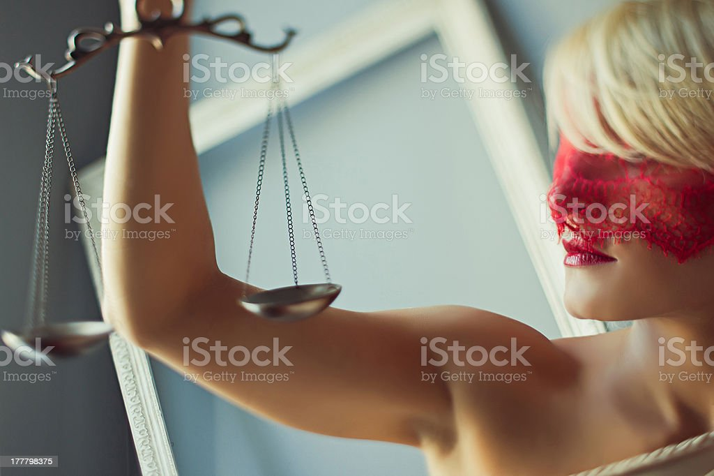 Horizontal themis with scales royalty-free stock photo