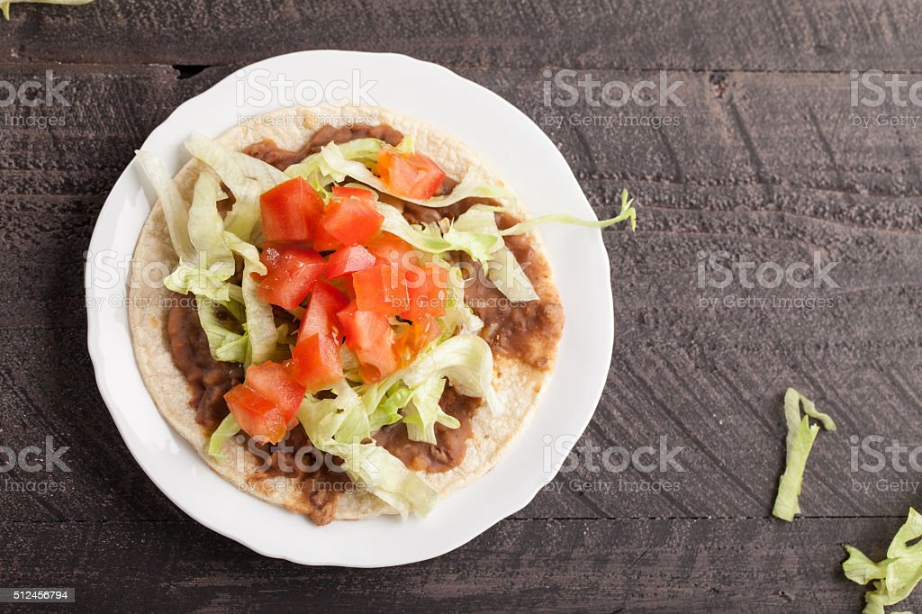 Horizontal top view of tostada stock photo