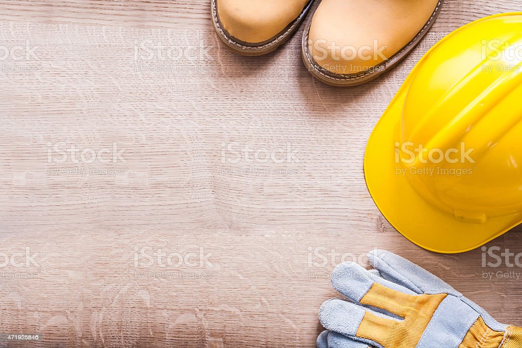 horizontal version organized copyspace working boots helmet glov stock photo