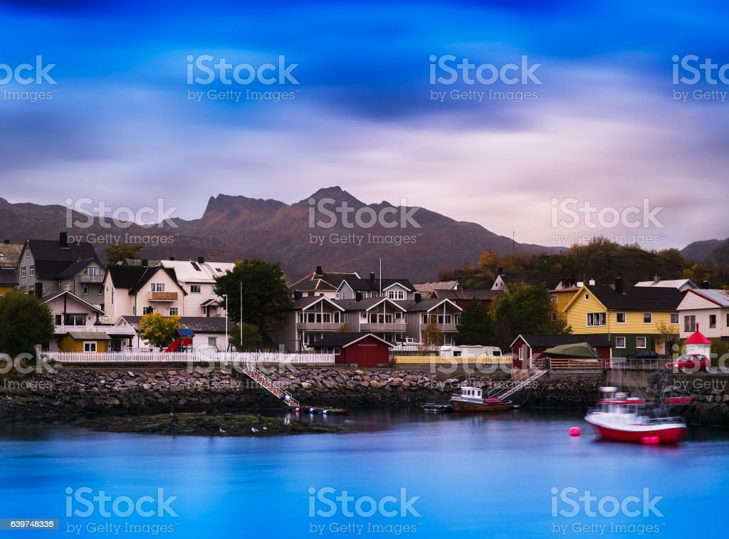Horizontal vibrant vivid Norway small town background backdrop stock photo
