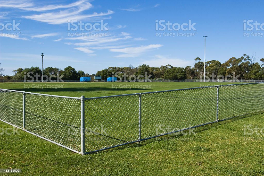Horizontal view of an empty sports oval stock photo