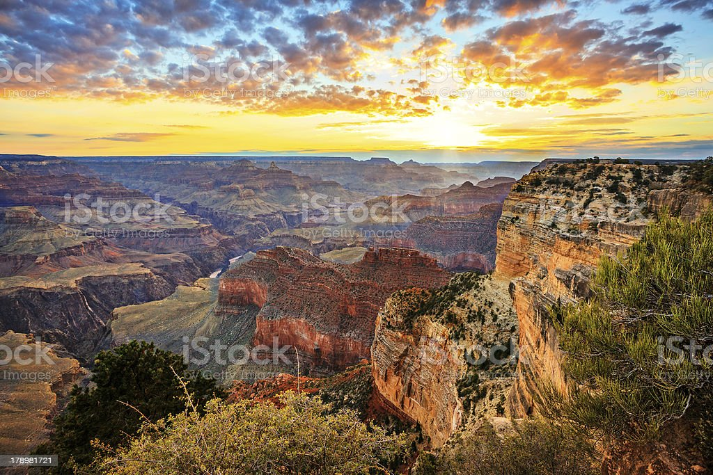 Horizontal view of famous Grand Canyon at sunrise stock photo