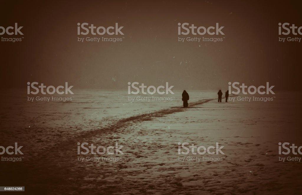 Horizontal vintage arctic travellers background backdrop stock photo