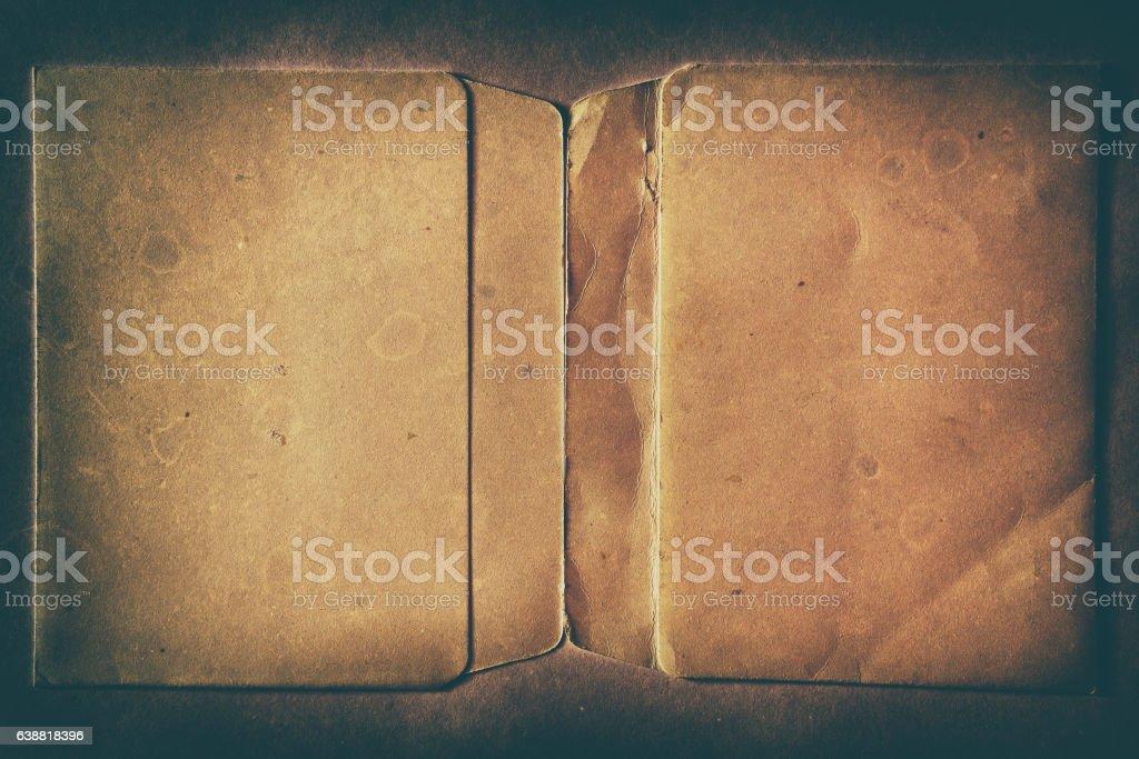 Horizontal vintage double page dirty empty floppy case backgrou stock photo