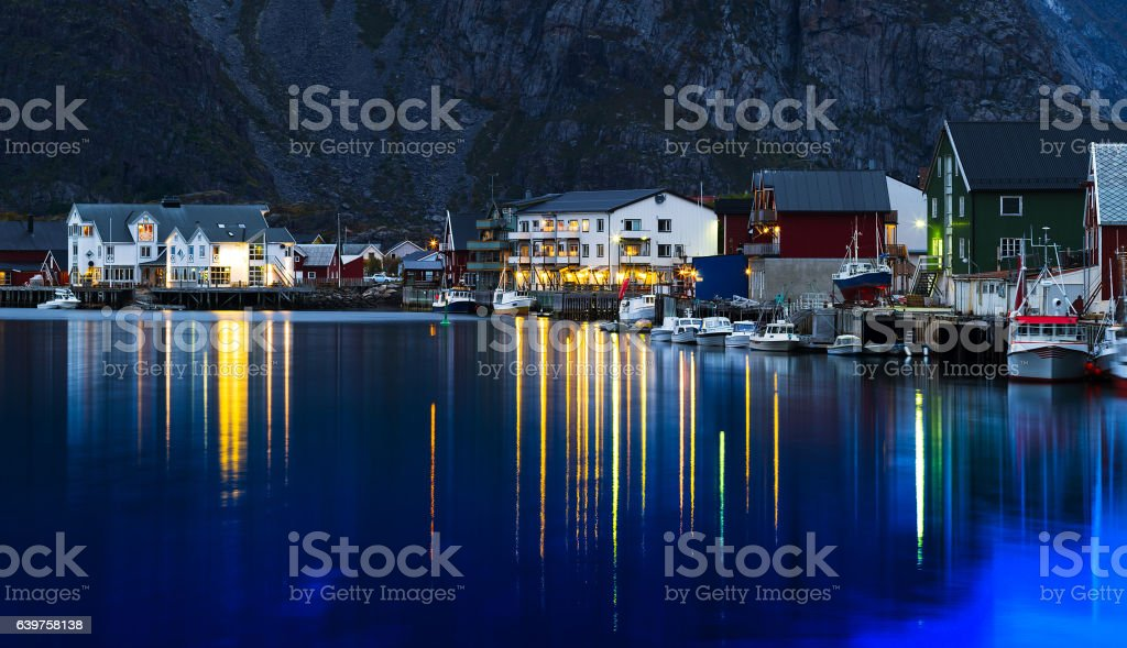Horizontal vivid evening Norway town light reflections landscape stock photo