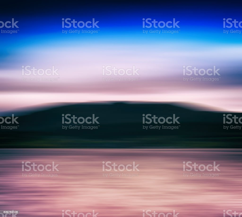 Horizontal vivid Norway fjord blur landscape abstraction backgro stock photo