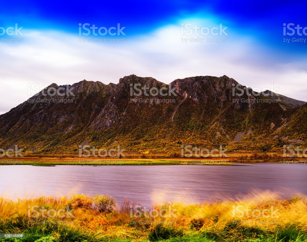 Horizontal vivid Norway fjord mountain bay wind landscape backgr stock photo