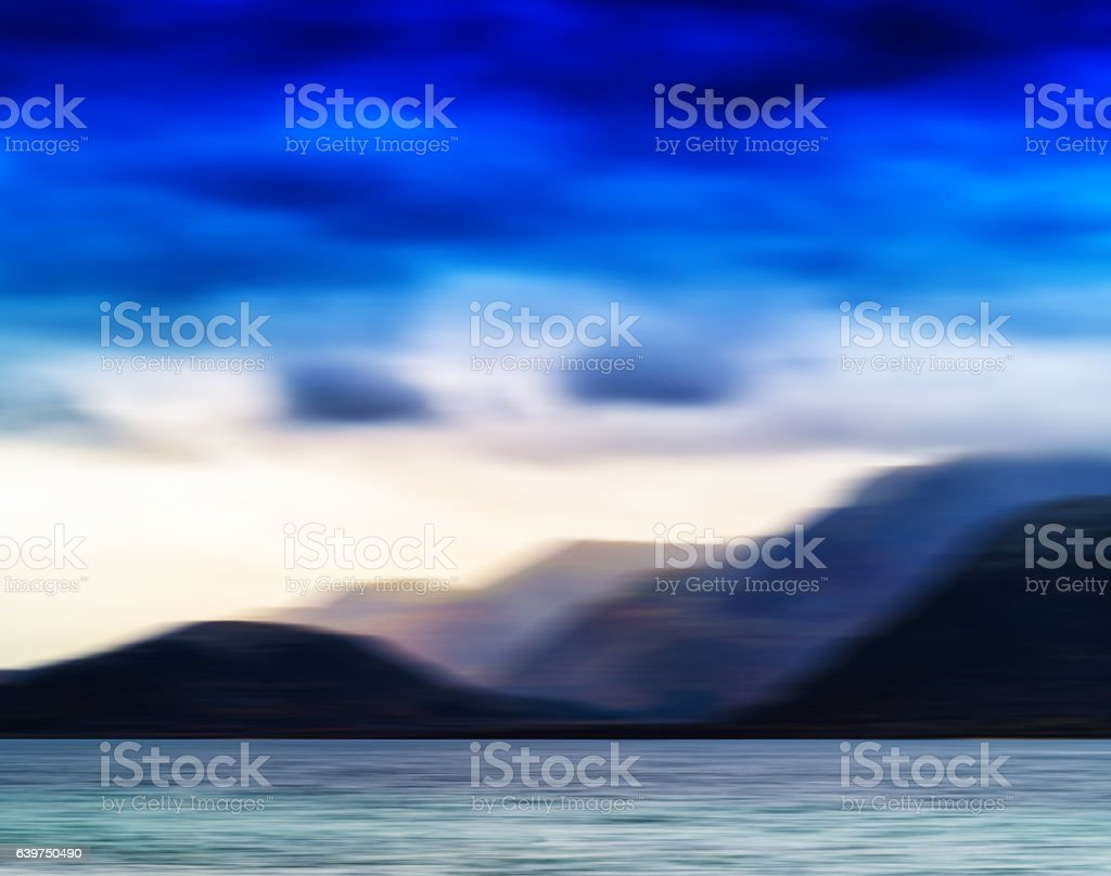 Horizontal vivid Norway motion blur landscape abstraction backgr stock photo