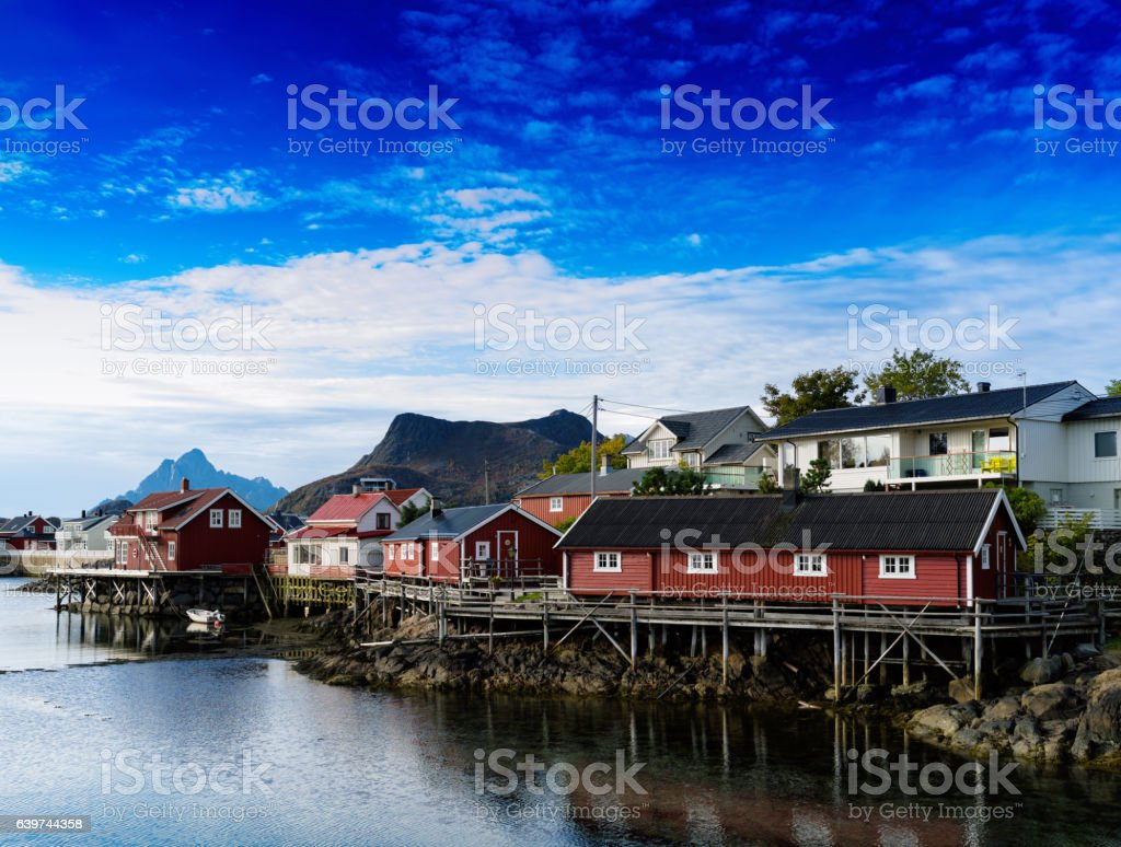 Horizontal vivid Norway town andscape background backdrop stock photo