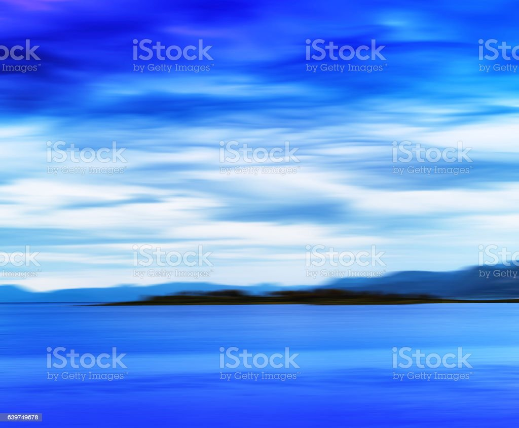 Horizontal vivid vibrant blue Norway island landscape motion abs stock photo