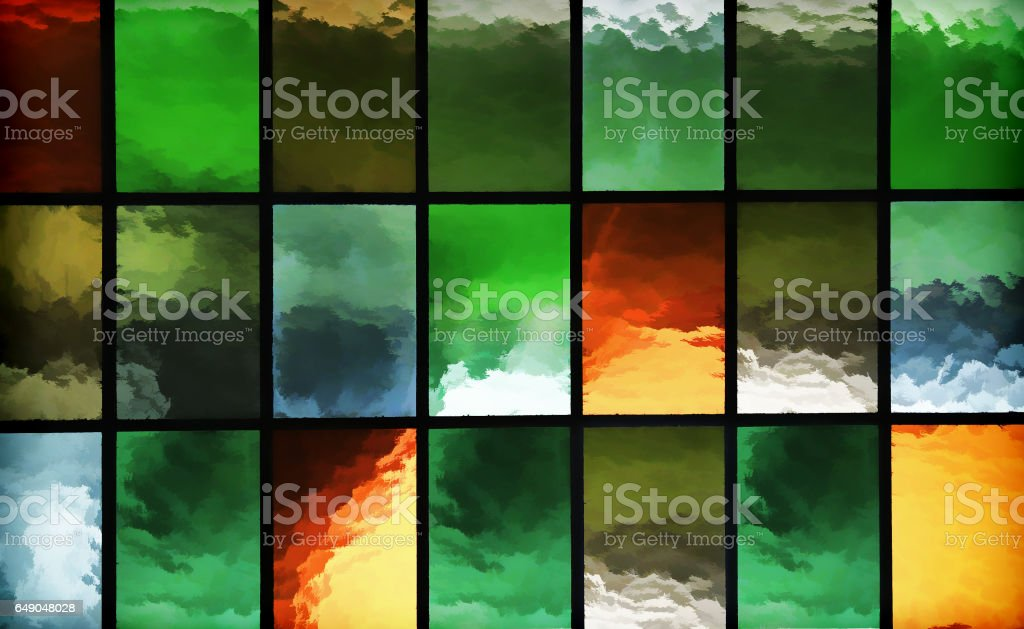 Horizontal windows mosaic illustration background vector art illustration
