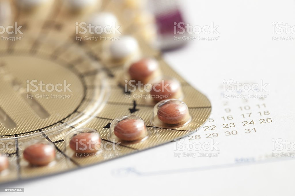 Hormone replacement therapy pills stock photo
