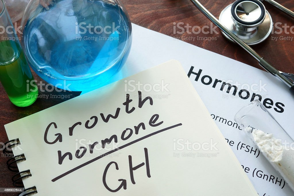 Hormone  written growth hormone on notebook. stock photo