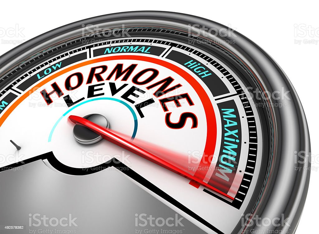 Hormones level conceptual meter stock photo