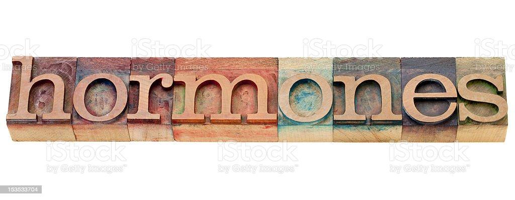 hormones word in letterpress type stock photo