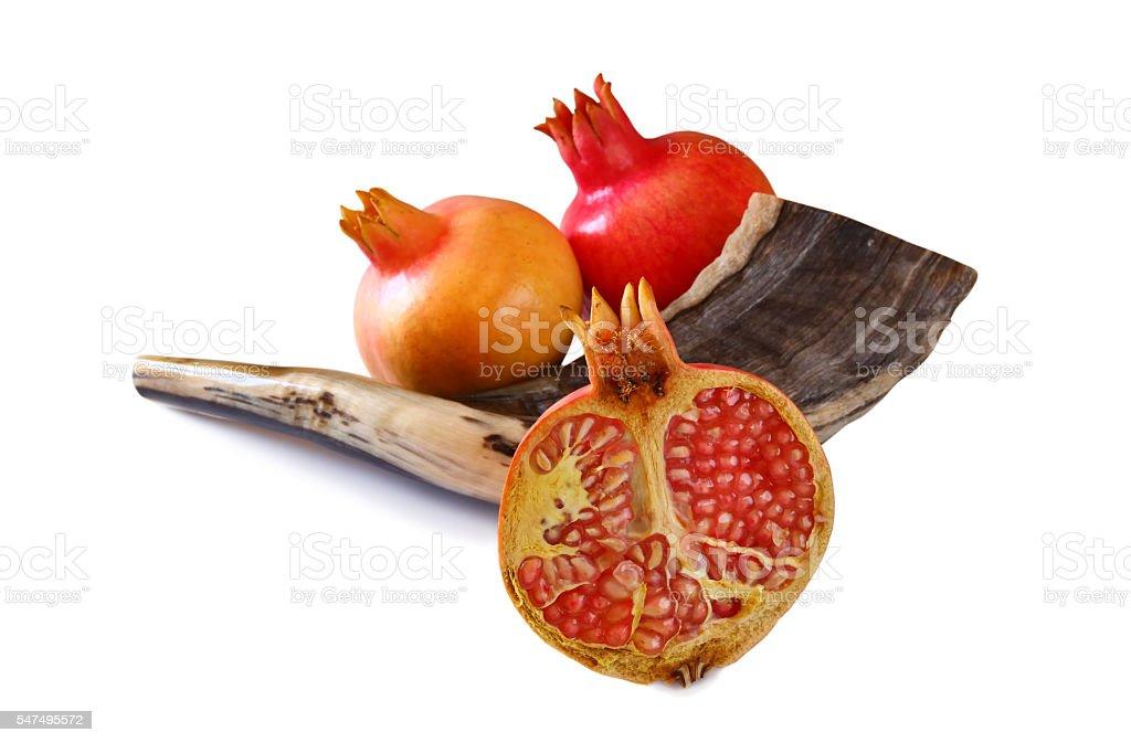 horn and pomegranates. Rosh hashanah (jewish New Year) symbols stock photo