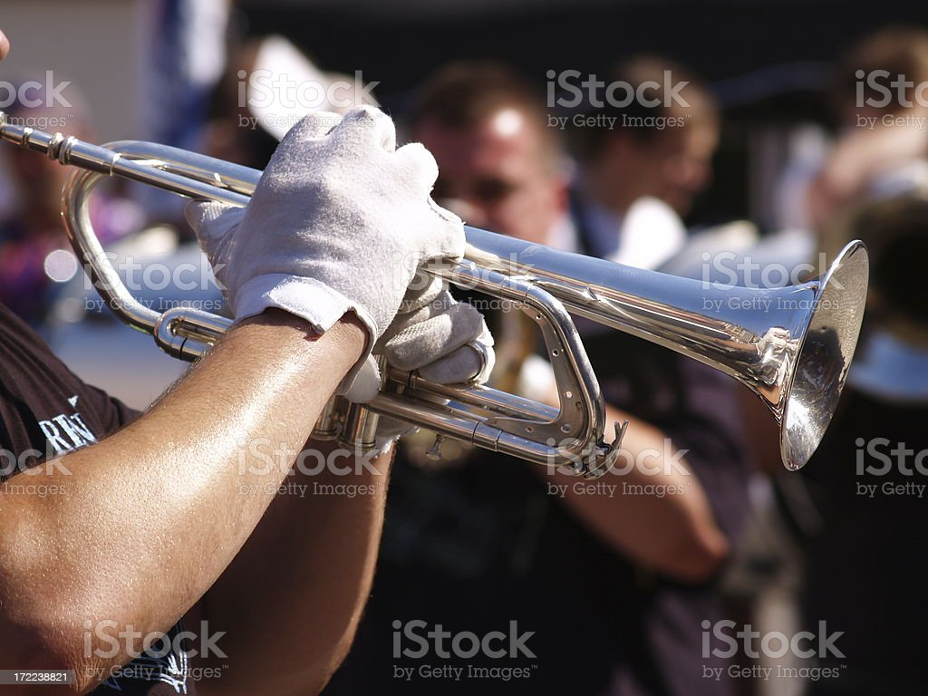 horn and white gloves royalty-free stock photo