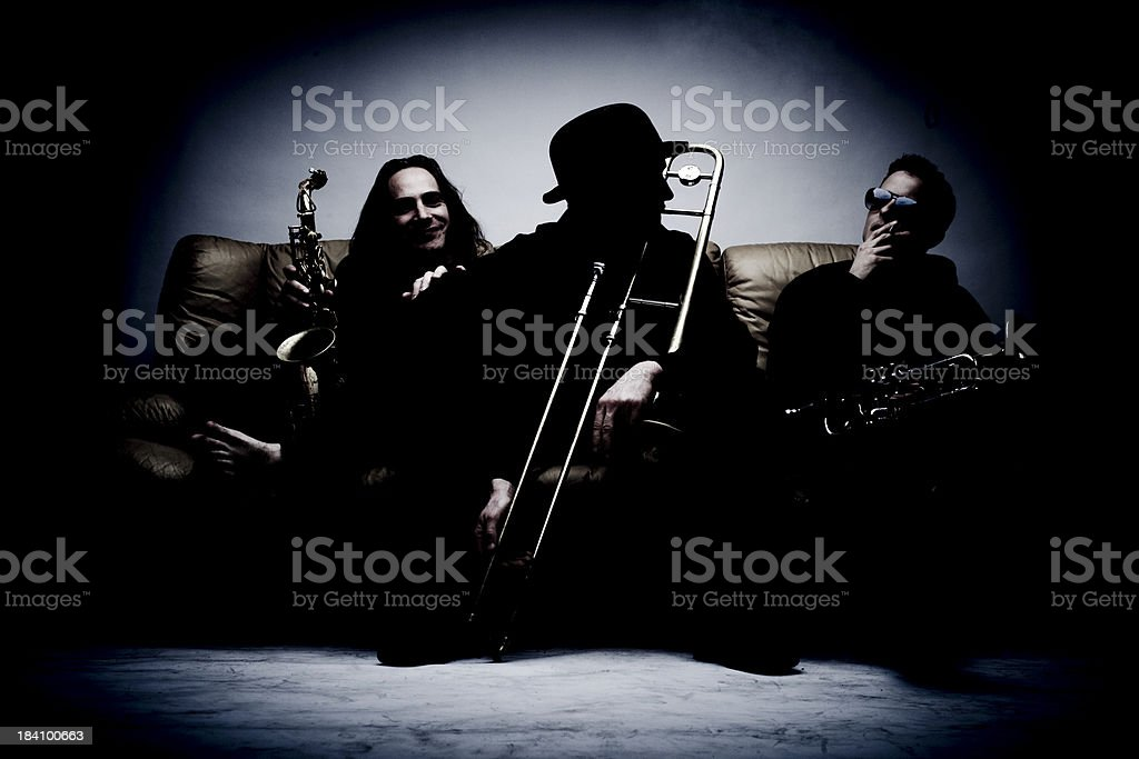 Horn Section in the Dark stock photo