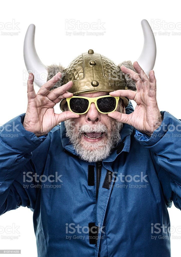 Horned Helmet Armor Senior Man Holding Grubby Opaque Sunglasses stock photo