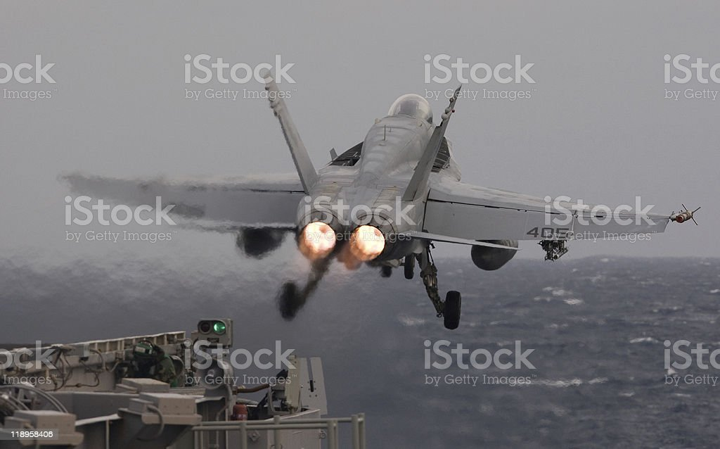 F/A-18C Hornet catapult launch stock photo