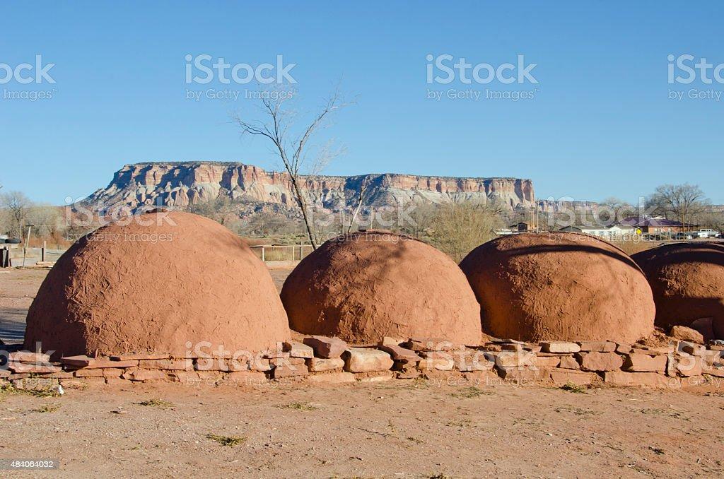 Hornos at Zuni Pueblo stock photo
