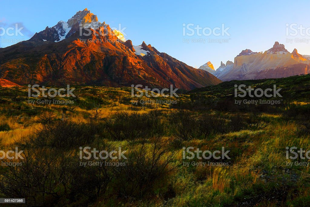 Horns of Paine dramatic gold sunrise, estepe, Torres Del Paine – Patagonia stock photo