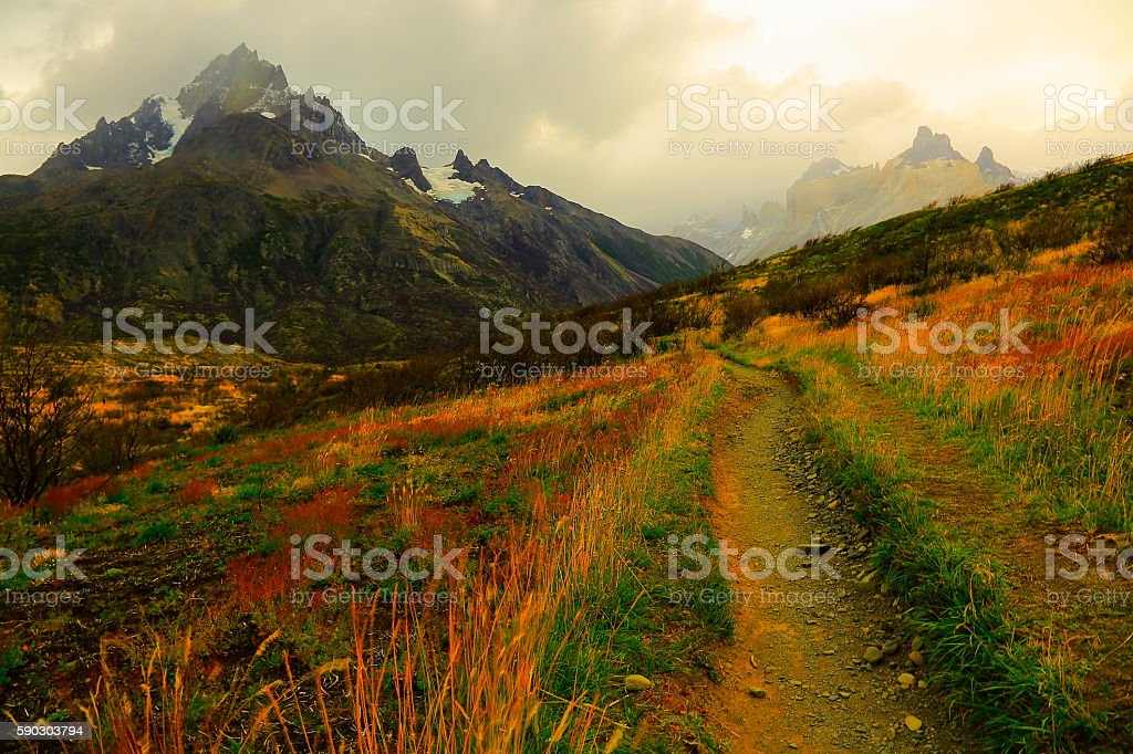 Horns of Paine dramatic sunrise, estepe trail, Torres Del Paine – Patagonia stock photo