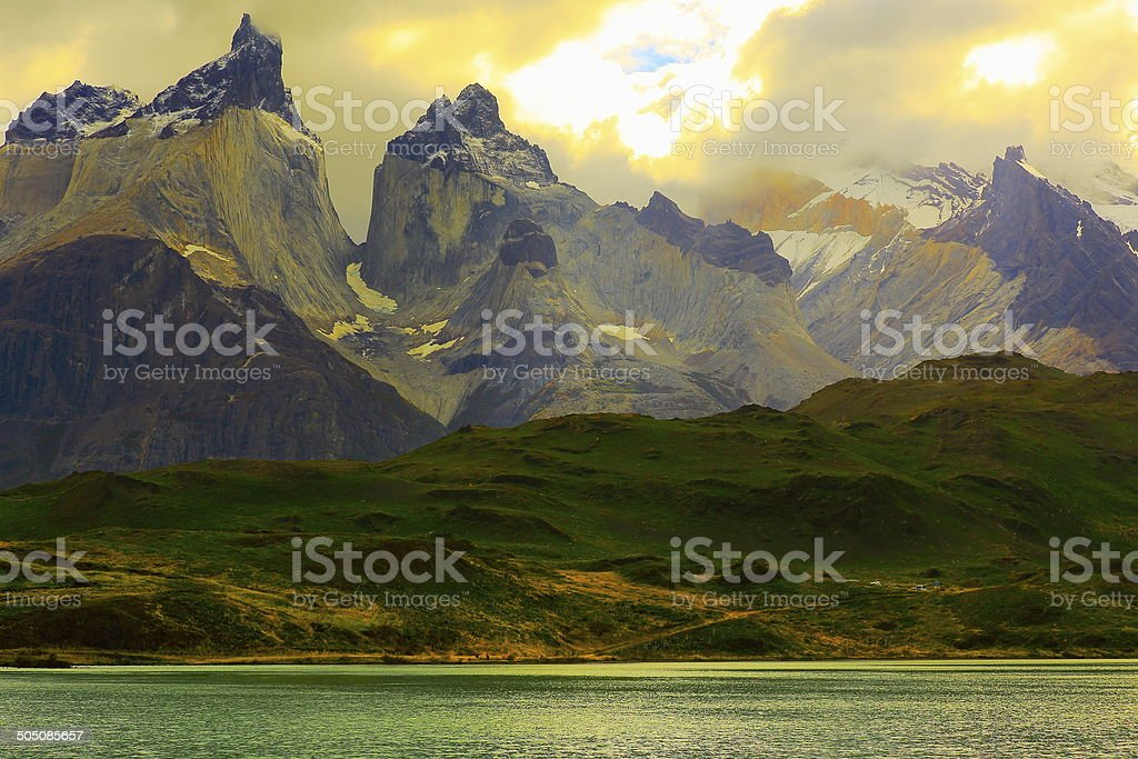 Horns of Paine sunset, Lake Pehoe, Torres Del Paine – Patagonia stock photo