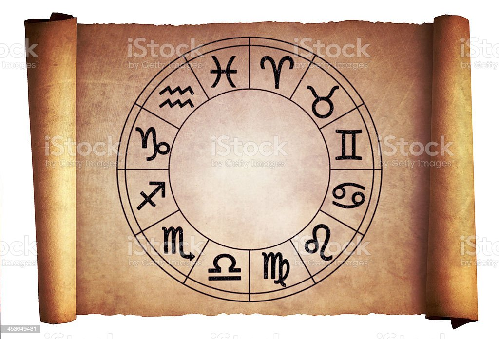 Horoscope circle on the old scroll stock photo