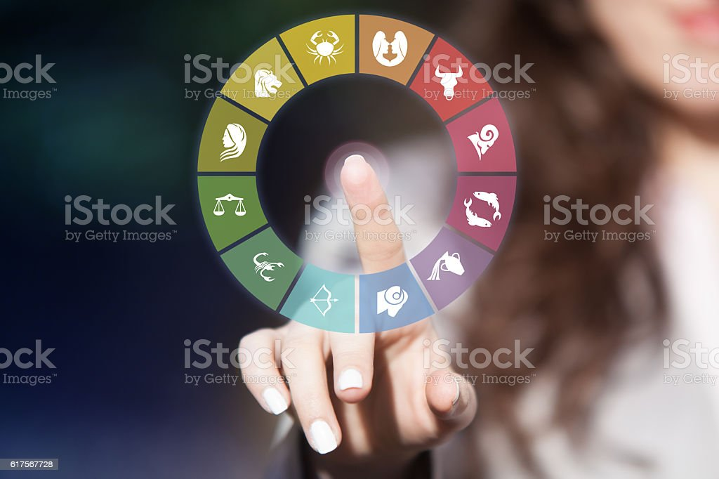 Horoscope signs in circle. stock photo