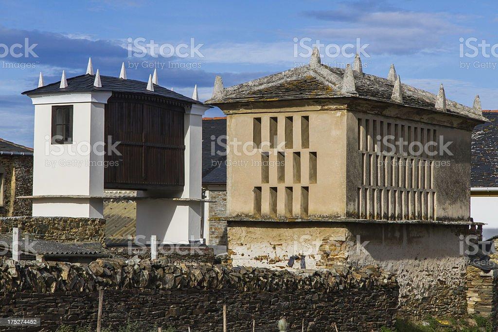horreos / raised granary stock photo