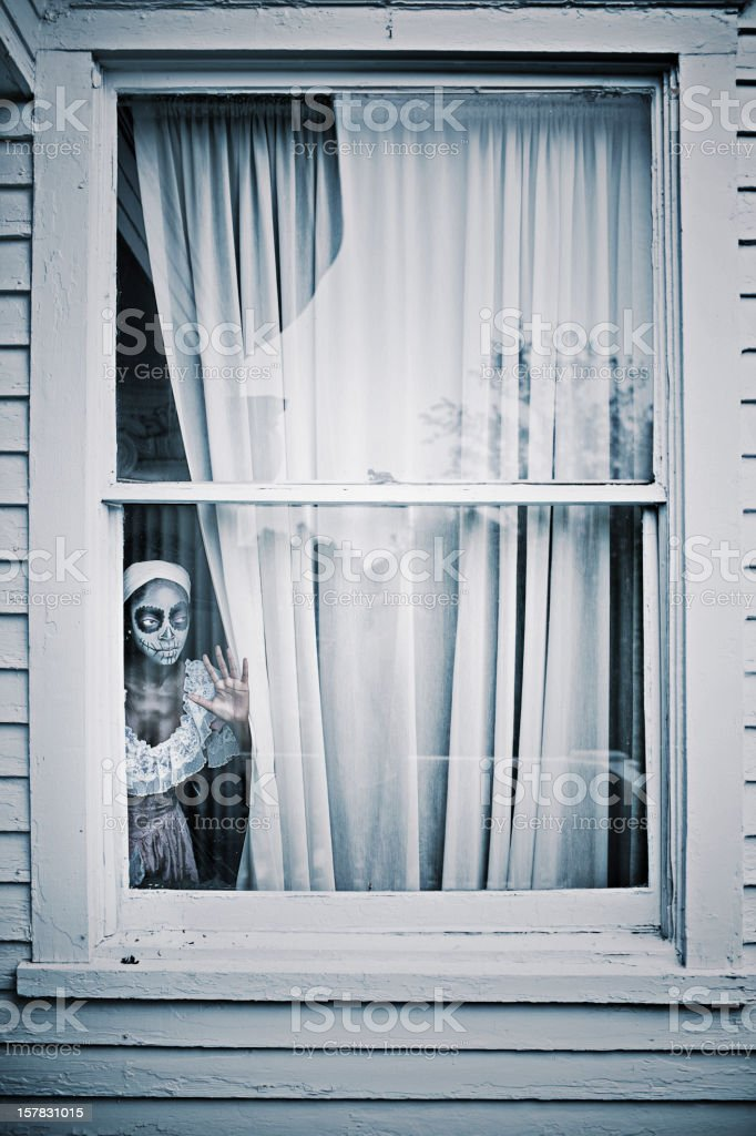 Horror behind the window royalty-free stock photo