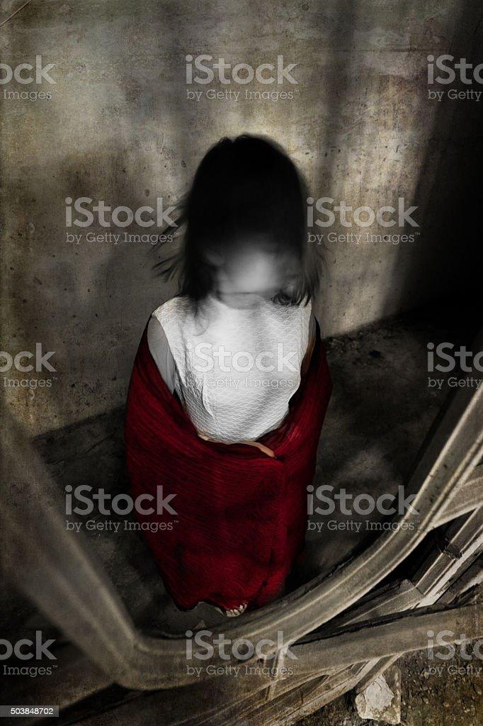 Horror girl in white dress stock photo