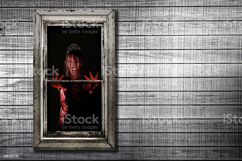 Horror Image of Woman in Window stock photo