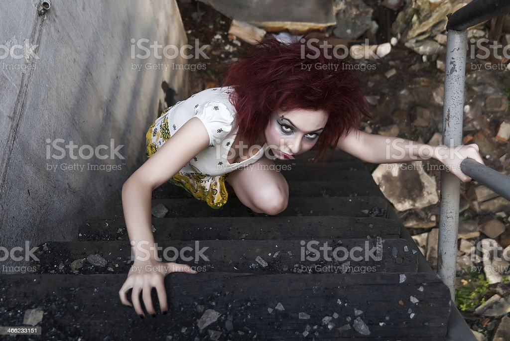 Horror style shot: strange crazy girl royalty-free stock photo
