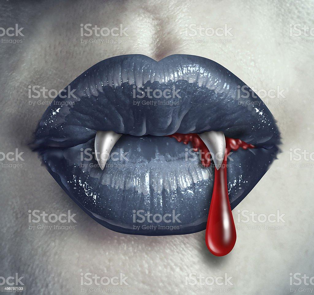 Horror Vampire Bloody Teeth stock photo