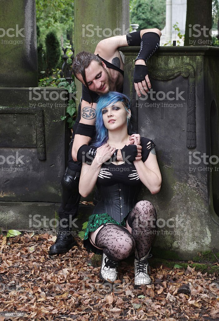 horrorpunk couple stock photo