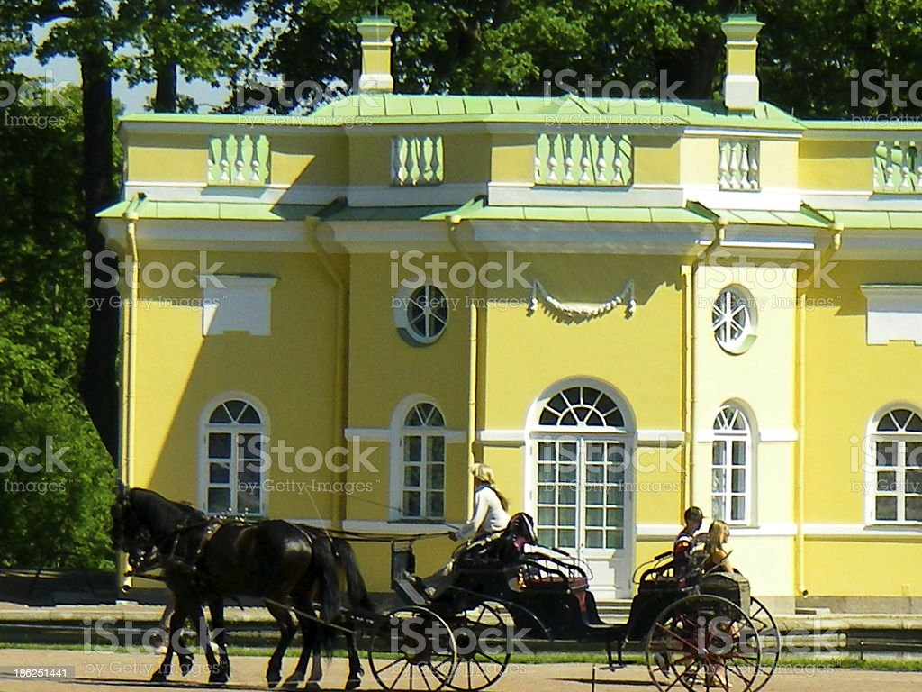 Horse and Carriage at Pushkin Palace Saint Petersburg Russia stock photo