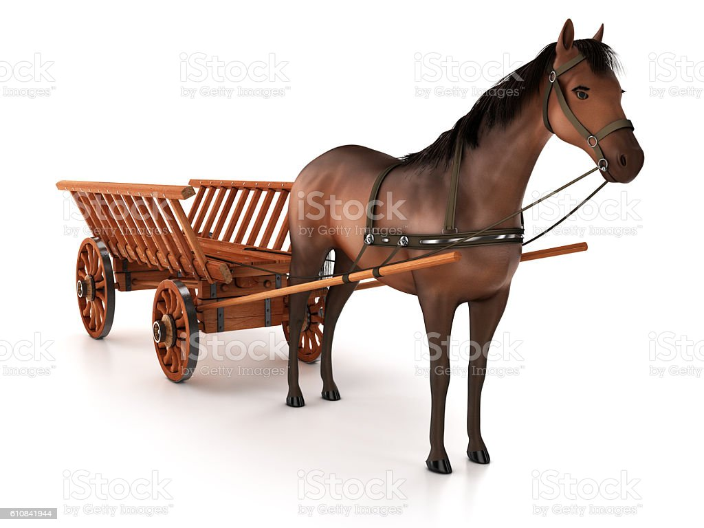 Horse and carriage, isolated on white background stock photo