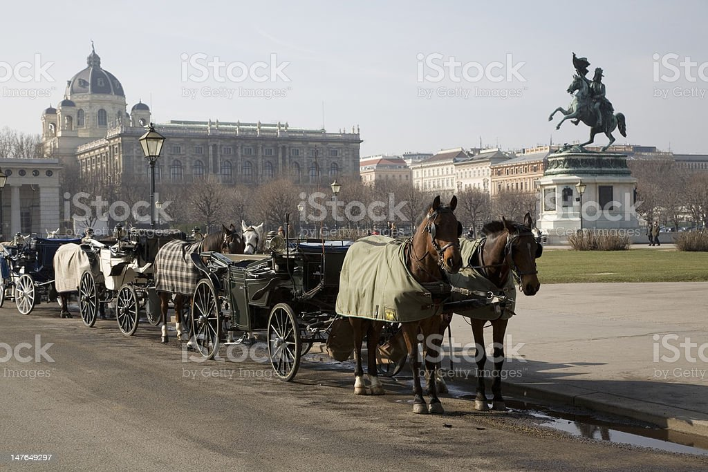 Horse and Carriage on Heldenplatz, Vienna royalty-free stock photo