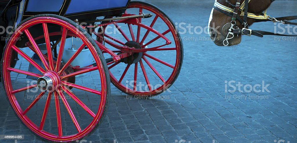 horse and carriage wheels stock photo