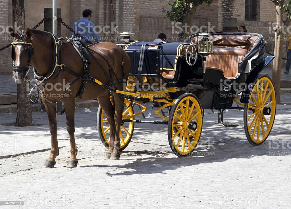 Horse and cart in Seville. Tourist attraction. royalty-free stock photo
