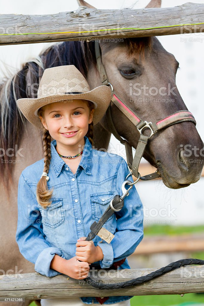 Horse and lovely girl - best friends stock photo