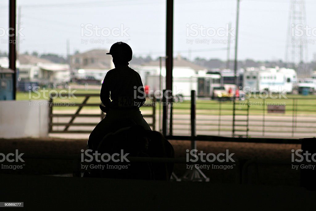 Horse and Rider Silhouette stock photo